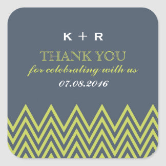 Blue and Green Chevron Pattern Wedding Stickers
