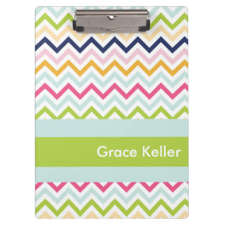 Blue and Green Chevron Personalized Clipboard