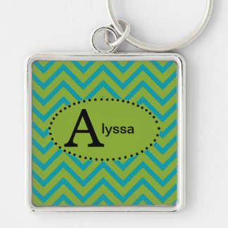 Blue and Green Chevron Personalized Keychain