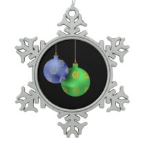 Blue and green Christmas ball ornament on black