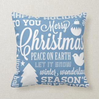Blue and Green Christmas Subway Art Pillow