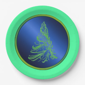 Blue and Green Christmas Tree 9 Inch Paper Plate