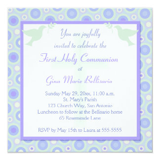 Blue and Green Circles First Communion Invitation