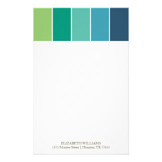 Blue and Green Color Blocks Stationery