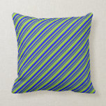 [ Thumbnail: Blue and Green Colored Lined Pattern Throw Pillow ]