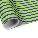 [ Thumbnail: Blue and Green Colored Lines Wrapping Paper ]