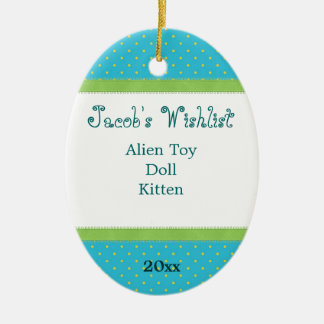 Blue and Green Custom Wishlist Ornament