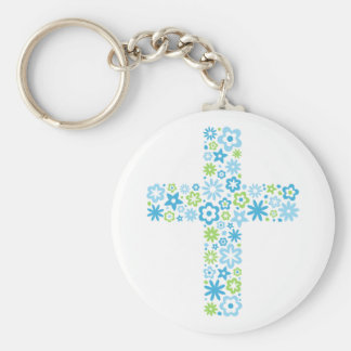 Blue and green cute floral flower cross keychain