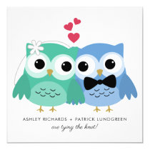Blue and Green | Cute Owl Bride and Groom Wedding Card
