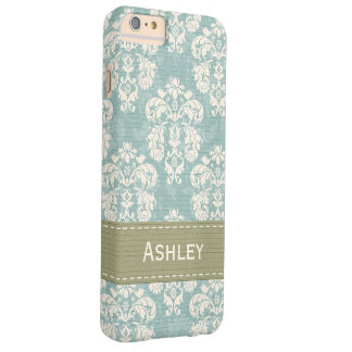 Blue and Green Damask Barely There iPhone 6 Plus Case