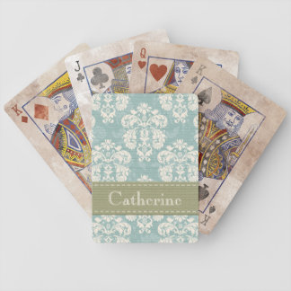 Blue and Green Damask Bicycle® Playing Cards