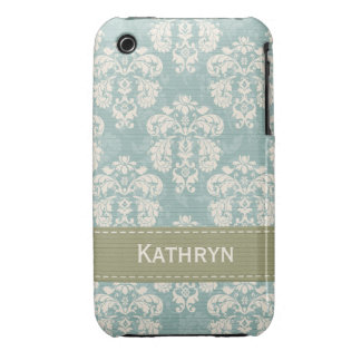 Blue and Green Damask iPhone 3g 3gs Case Mate Cove iPhone 3 Case-Mate Cases