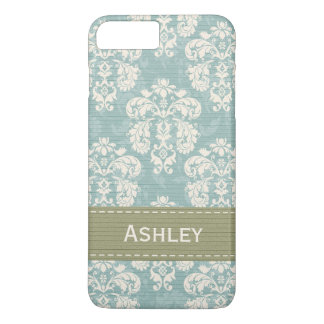 Blue and Green Damask iPhone 7 Plus Case
