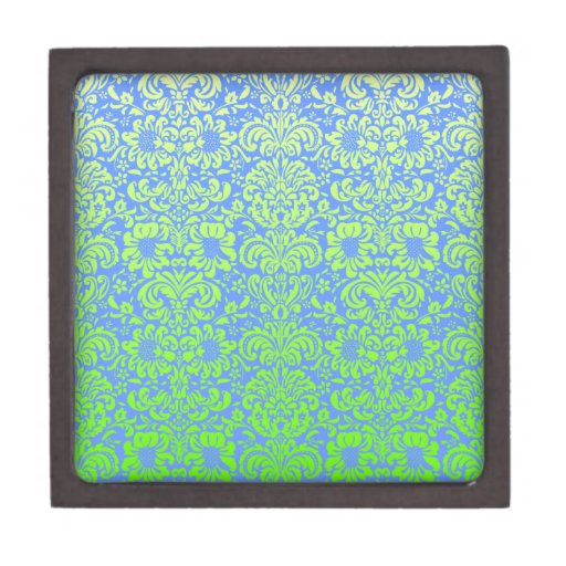 Blue and Green Damask Premium Jewelry Boxes