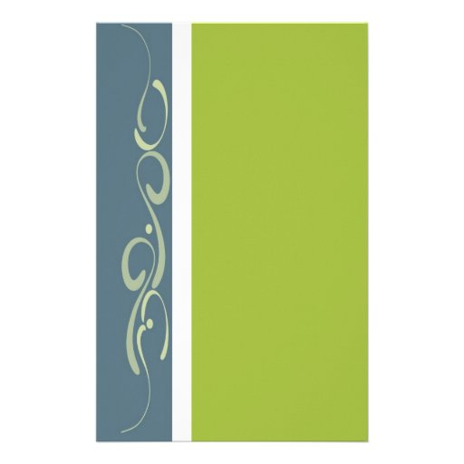 Blue and green decorative page custom stationery