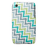 Blue and Green Diagonal Zigzag Ikat Pattern iPhone 3 Case-Mate Cases