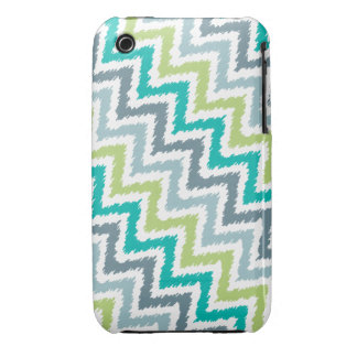 Blue and Green Diagonal Zigzag Ikat Pattern Case-Mate iPhone 3 Case