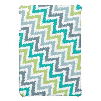Blue and Green Diagonal Zigzag Ikat Pattern iPad Mini Cases
