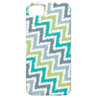 Blue and Green Diagonal Zigzag Ikat Pattern iPhone SE/5/5s Case