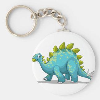 Blue and green dinosaur basic round button keychain