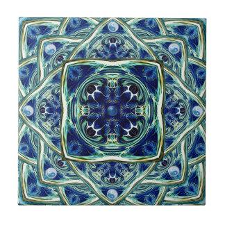 Blue and Green Earth Mandala Ceramic Tile
