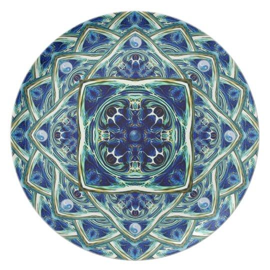 Blue and Green Earth Mandala Decorative Plate
