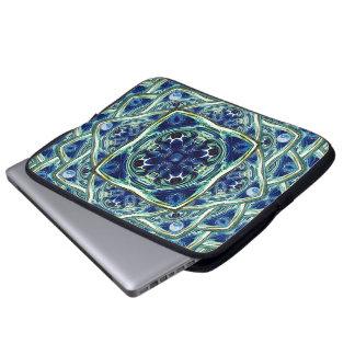 Blue and Green Earth Mandala Laptop Sleeve