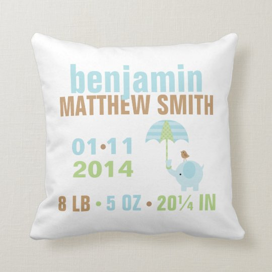 Blue and Green Elephant Baby Birth Announcement Throw Pillow