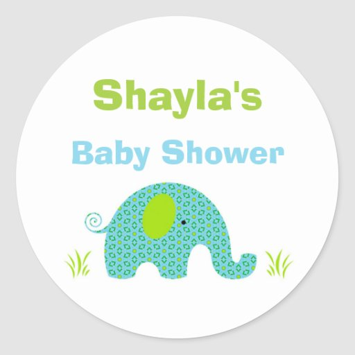 blue and green elephant baby shower favor sticker zazzle