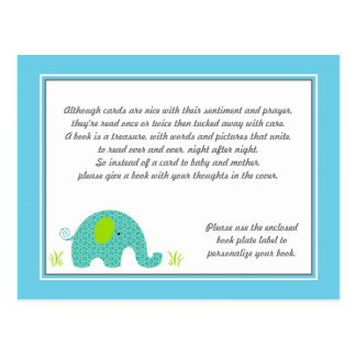 Blue and Green Elephant Baby Shower Insert Postcard