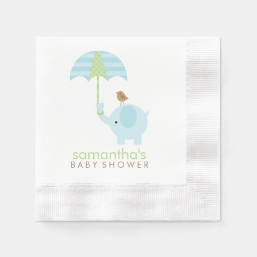 blue and green elephant baby shower paper napkin zazzle