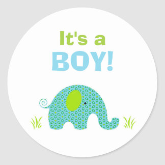 Blue and Green Elephant Baby Shower Seal Classic Round Sticker