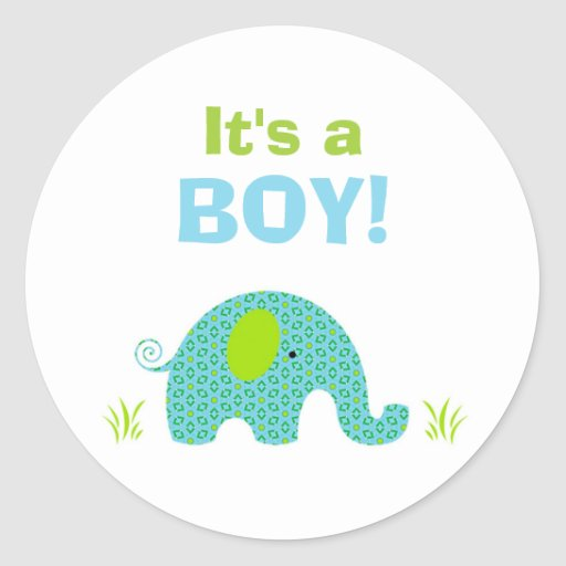 blue and green elephant baby shower seal round sticker zazzle