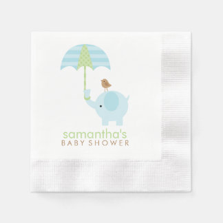 Blue and Green Elephant Baby Shower Disposable Napkins