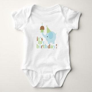 Blue and Green Elephant Birthday Baby Bodysuit