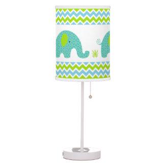 Blue and green elephant boy nursery decor desk lamp