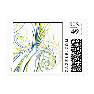 Blue and Green Feathers Postage Stamps