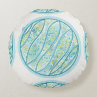 Blue and green fish cushion round pillow