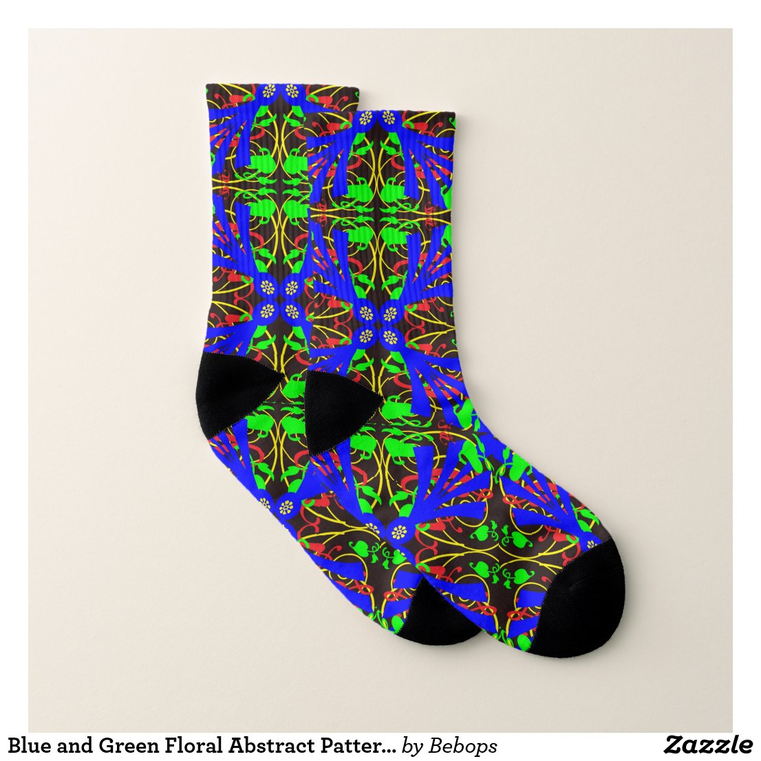 Blue and Green Floral Abstract Pattern Socks