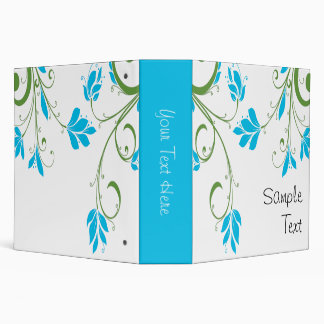 Blue and Green Floral 3 Ring Binders