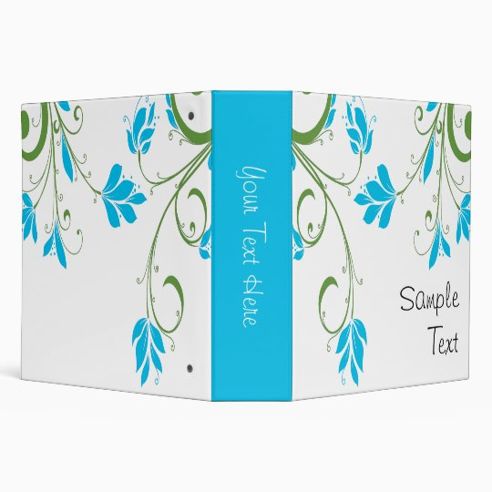Blue and Green Floral Binder
