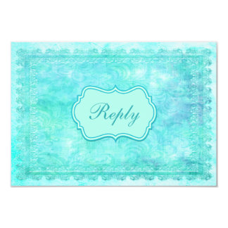 Blue and Green Floral Lace Reply Card