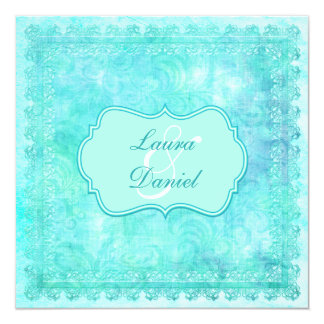 Blue and Green Floral Lace Wedding Invitation