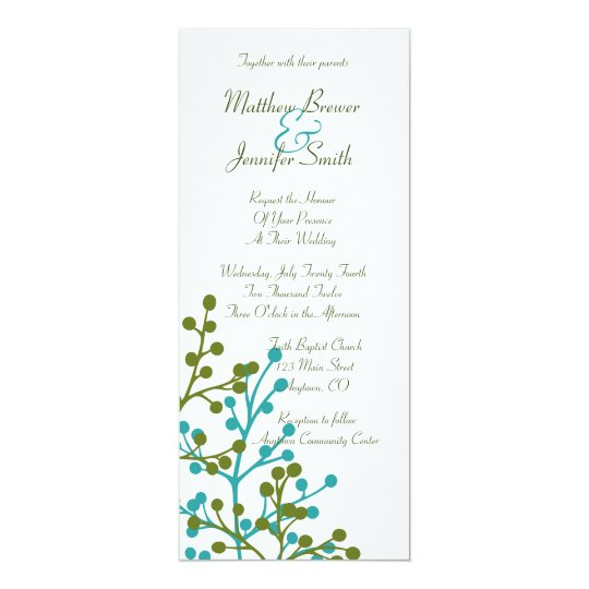 Blue and Green Floral Long Wedding Invitation