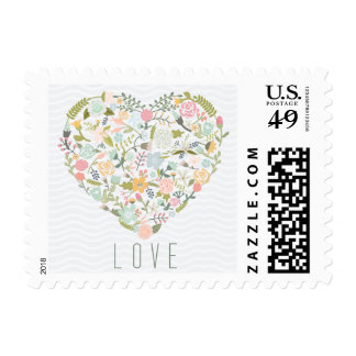 Blue and green floral love heart postage stamps