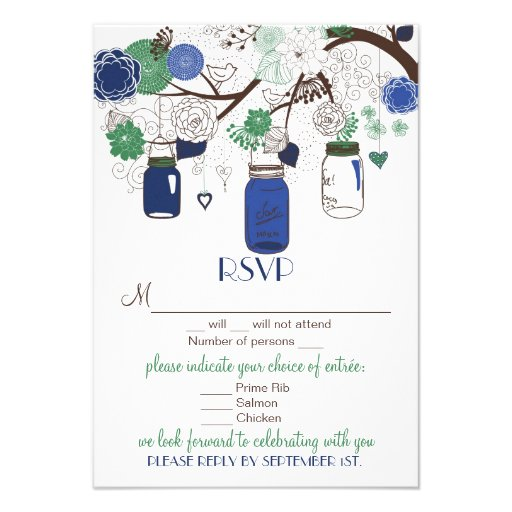 Blue and Green Floral Mason Jars RSVP Wedding Card