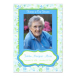 """Blue and Green Floral Memorial Card with Photo 5"""" X 7"""" Invitation Card"""