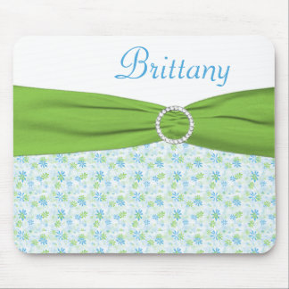 Blue and Green Floral Mousepad with Name