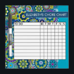 """Blue and Green Floral Pattern Chore Chart Dry-Erase Board<br><div class=""""desc"""">A popular design with flowers and leaves and an area to add your children&#39;s names. Trendy colors and popular patterns make this a modern and fun chore chart for kids. If you need to adjust the text,  click on the customize button and make changes.</div>"""