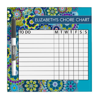 Blue and Green Floral Pattern Chore Chart Dry-Erase Board